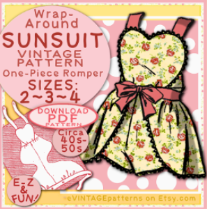 sunsuit: wrap-around one-piece sizes sizes 2, 3 & 4 toddler