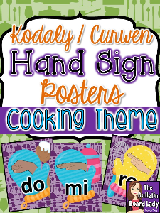 kodaly curwen hand sign posters - cooking theme