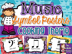 music symbol posters - cooking theme