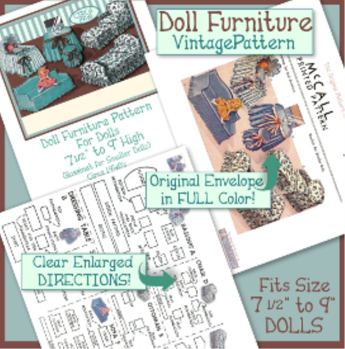 First Additional product image for - 7-9 inch Doll Furniture e-Pattern VINTAGE 1940's