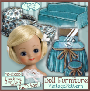 7-9 inch doll furniture e-pattern vintage 1940's