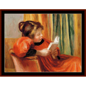 girl reading - renoir cross stitch pattern by cross stitch collectibles