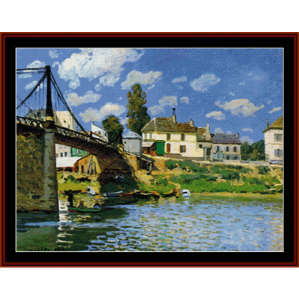Bridge at Villenuve-LaGaren - Sisley cross stitch pattern by Cross Stitch Collectibles | Crafting | Cross-Stitch | Other