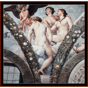 Cupid and the Three Graces - Raphael cross stitch pattern by Cross Stitch Collectibles | Crafting | Cross-Stitch | Wall Hangings