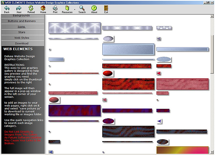 First Additional product image for - Web Elements Deluxe Web Design Graphics Gallery