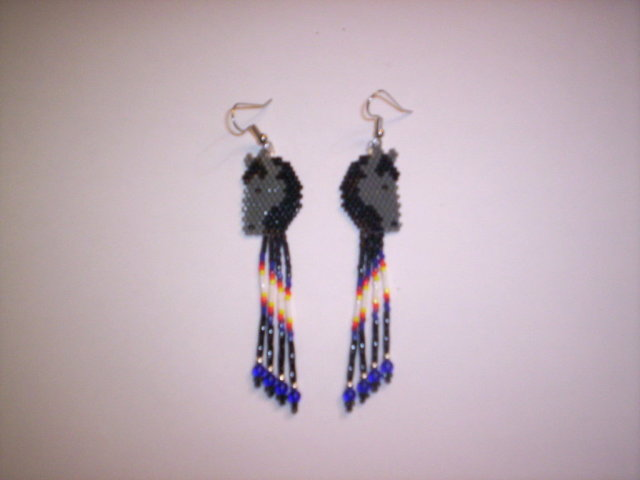 First Additional product image for - Brick Stitch Horse Delica Seed Beading Fringe Earring Pattern