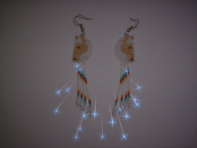 Second Additional product image for - Brick Stitch Horse Delica Seed Beading Fringe Earring Pattern