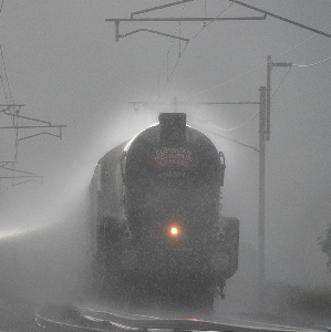 night train in the rain