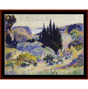 Cypress, April - Signac cross stitch pattern by Cross Stitch Collectibles | Crafting | Cross-Stitch | Wall Hangings