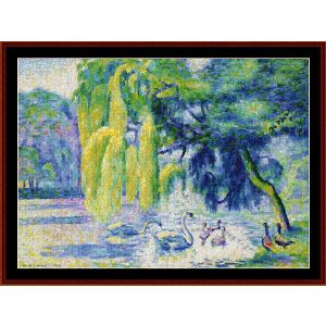 Family of Swans - Signac cross stitch pattern by Cross Stitch Collectibles | Crafting | Cross-Stitch | Wall Hangings