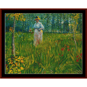 Woman in Garden, Summer - Van Gogh cross stitch pattern by Cross Stitch Collectibles | Crafting | Cross-Stitch | Wall Hangings