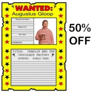 50% Off Charlie and the Chocolate Factory Wanted Posters Set | Documents and Forms | Templates