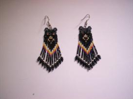 Brick Stitch Black Bear Delica Seed Beading Fringe Earring Pattern | Other Files | Arts and Crafts
