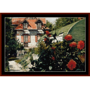 garden at petit gennevilliers - caillebotte cross stitch pattern by cross stitch collectibles