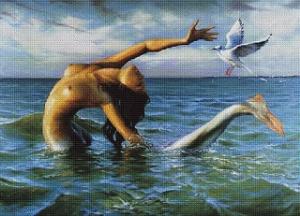 Morská panna s rackem (Mermaid with a seagull) | Crafting | Cross-Stitch | Other
