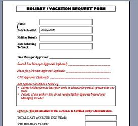 Vacation Holiday Form | Software | Add-Ons and Plug-ins