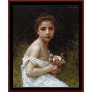 girl with bouquet - 1896, bouguereau cross stitch pattern by cross stitch collectibles
