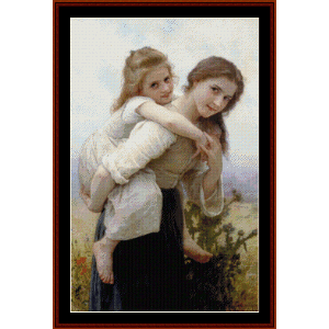 Pleasant Burden, 1895 - Bouguereau cross stitch pattern by Cross Stitch Collectibles | Crafting | Cross-Stitch | Wall Hangings
