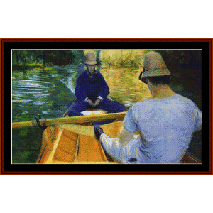 boaters on the yerres - caillebotte cross stitch pattern by cross stitch collectibles