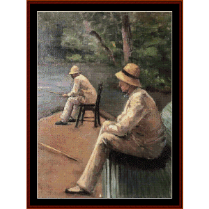 fishermen on the yerres - caillebotte cross stitch pattern by cross stitch collectibles