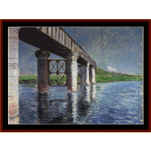 the bridge at argenteuil - caillebotte cross stitch pattern by cross stitch collectibles