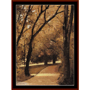 Path Through Old Growth Woods - Caillebotte cross stitch pattern by Cross Stitch Collectibles | Crafting | Cross-Stitch | Wall Hangings