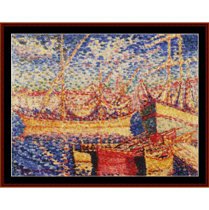Boats in the Port of St. Tropez - H.E. Cross cross stitch pattern by Cross Stitch Collectibles | Crafting | Cross-Stitch | Wall Hangings
