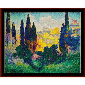 Cypresses at Cagnes - H.E. Cross cross stitch pattern by Cross Stitch Collectibles | Crafting | Cross-Stitch | Other