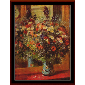 bouquet with mirror, 1877 - renoir cross stitch pattern by cross stitch collectibles