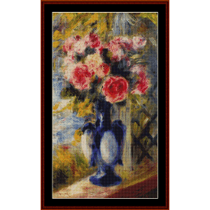 Roses in Blue Vase, 1892 - Renoir cross stitch pattern by Cross Stitch Collectibles | Crafting | Cross-Stitch | Wall Hangings