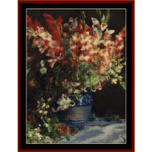 Gladiolas in a Vase, 1875 - Renoir cross stitch pattern by Cross Stitch Collectibles | Crafting | Cross-Stitch | Wall Hangings