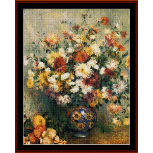 Vase of Chrysanthemums, 1882 - Renoir cross stitch pattern by Cross Stitch Collectibles | Crafting | Cross-Stitch | Wall Hangings