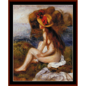 Nude in Straw Hat - Renoir cross stitch pattern by Cross Stitch Collectibles | Crafting | Cross-Stitch | Wall Hangings