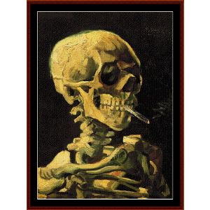 Skull with Burning Cigarette - Van Gogh cross stitch pattern by Cross Stitch Collectibles | Crafting | Cross-Stitch | Wall Hangings