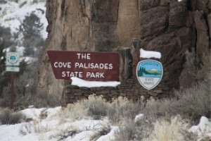 cove palisades state park sign in snow