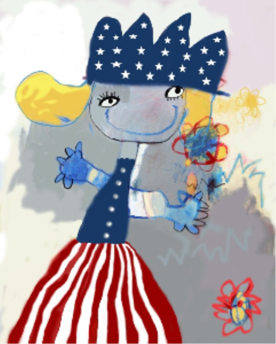 First Additional product image for - Digital Art Painting - American Flag Through Artist Eye