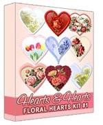 Floral Hearts Graphics Kit #1 | Other Files | Clip Art