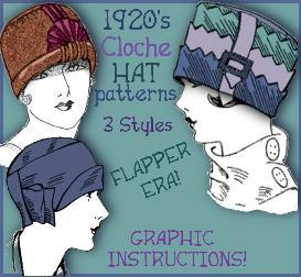 Sew up a FLAPPER Hat ~Vintage PATTERNS for 3 STYLES ~the Lillie Collection | eBooks | Arts and Crafts