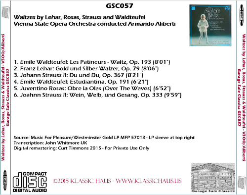 First Additional product image for - Waltzes by Lehar, Rosas, Strauss and Waldteufel - Vienna SOO/Armando Aliberti