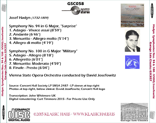 First Additional product image for - Haydn: Symphonies Nos. 94 & 100 - Vienna SOO/David Josefowitz