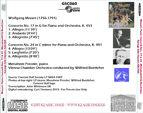 First Additional product image for - Mozart: Piano Concerti Nos. 17 & 24 - Menahem Pressler, piano; Vienna CO/Wilfried Boettcher