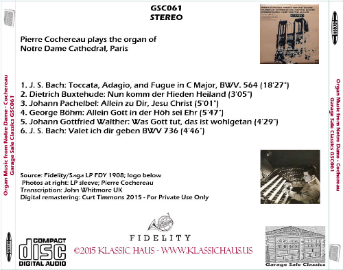 First Additional product image for - Pierre Cochereau plays the organ of  Notre Dame Cathedral, Paris