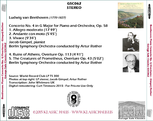 First Additional product image for - Beethoven: Piano Concerto No. 4/Overtures - Jacob Gimpel, piano; Berlin SO/Artur Rother