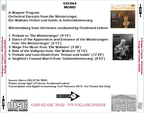 First Additional product image for - A Wagner Program - Württemburg State Orchestra/Ferdinand Leitner