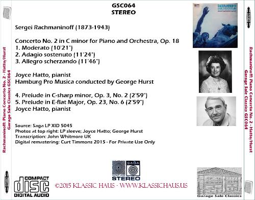 First Additional product image for - Rachmaninoff: Piano Concerto No. 2/Preludes - Joyce Hatto, piano; Hamburg Pro Musica/George Hurst