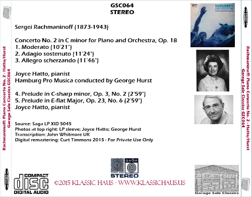 First Additional product image for - Rachmaninoff: Piano Concerto No. 2/Preludes - Joyce Hatto, piano; Hamburg Pro Musica/George Hurst