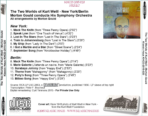 First Additional product image for - The Two Worlds of Kurt Weill - New York/Berlin Morton Gould conducts His Symphony Orchestra