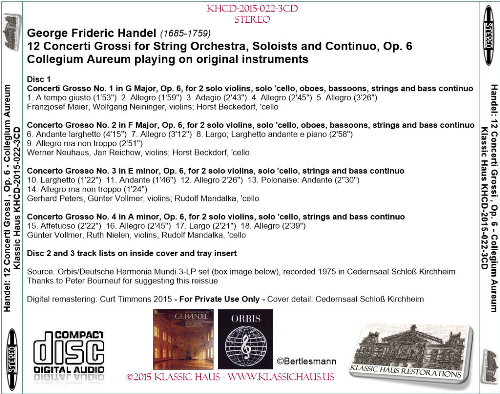 First Additional product image for - Handel: 12 Concerti Grossi, Op. 6 - Collegium Aureum