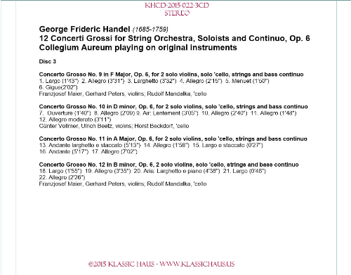 Third Additional product image for - Handel: 12 Concerti Grossi, Op. 6 - Collegium Aureum