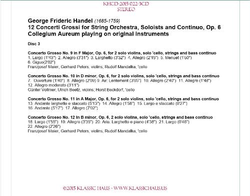 Third Additional product image for - Handel: 12 Concerti Grossi, Op. 6 - Collegium Aureum
